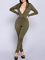 Недорогие -Жен. Повседневные Уличный стиль Черный Военно-зеленный Комбинезоны, Однотонный M L XL Длинный рукав Осень