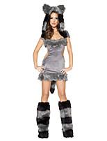 abordables -Animal Loup femmes Costume Père Noël Femme Adulte Halloween Noël Noël Halloween Carnaval Fête / Célébration Térylène Polyester Tenue Gris Couleur Pleine