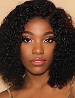 Недорогие -человеческие волосы Remy Полностью ленточные Лента спереди Парик Бразильские волосы Афро Квинки Kinky Curly Черный Парик Ассиметричная стрижка 130% 150% 180% Плотность волос / Природные волосы
