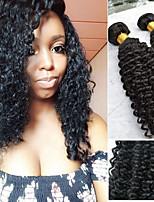 Недорогие -3 Связки Бразильские волосы Перуанские волосы Kinky Curly Натуральные волосы Необработанные натуральные волосы Wig Accessories Подарки Косплей Костюмы 8-28 дюймовый Естественный цвет