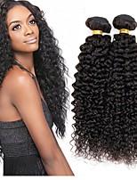 Недорогие -3 Связки Индийские волосы Kinky Curly Натуральные волосы Человека ткет Волосы / Удлинитель / Пучок волос 8-28 дюймовый Естественный цвет Ткет человеческих волос Машинное плетение