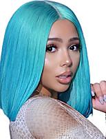 Недорогие -Не подвергавшиеся окрашиванию человеческие волосы Remy Лента спереди Парик Бразильские волосы Естественный прямой Синий Парик Стрижка боб Короткий Боб 130% Плотность волос / Блондинка / Glueless
