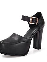 Недорогие -Жен. Наппа Leather Весна Обувь на каблуках На толстом каблуке Белый / Черный