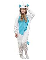 abordables -Pyjamas Kigurumi Unicorn Combinaison de Pyjamas Polaire Bleu Cosplay Pour Garçons et filles Pyjamas Animale Dessin animé Fête / Célébration Les costumes
