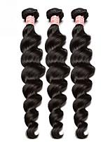 Недорогие -3 Связки Бразильские волосы Свободные волны Натуральные волосы Необработанные натуральные волосы Человека ткет Волосы Плетение 10inch-24inch Нейтральный Естественный цвет Ткет человеческих волос