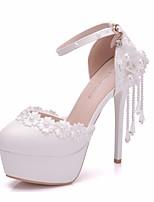 abordables -Femme Dentelle / Polyuréthane Printemps été Doux Chaussures de mariage Plateau Bout rond Imitation Perle / Boucle / Gland Blanc / Mariage
