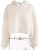 Недорогие -женский длинный рукав с капюшоном - сплошной цвет с капюшоном бежевый одноразовый