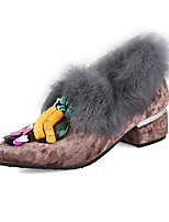 Недорогие -Жен. Замша Осень Обувь на каблуках На толстом каблуке Серый / Кофейный / Розовый