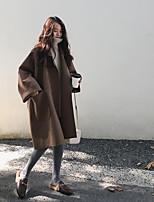 Недорогие -Жен. Повседневные / Праздники Активный / Классический Наступила зима Длинная Пальто, Однотонный Черный и красный Рубашечный воротник Длинный рукав Полиэстер Пэчворк Коричневый / Черный M / L / XL