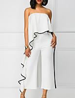 Недорогие -Жен. Повседневные Белый Красный Комбинезоны, Однотонный M L XL Без рукавов
