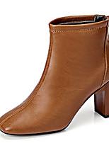 Недорогие -Жен. Полиуретан Зима Винтаж Ботинки На толстом каблуке Сапоги до середины икры Черный / Коричневый