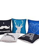 abordables -5 pcs Coton / Lin Taie d'oreiller / Housse de coussin, Décoration artistique / Animal / Moderne Décoration artistique / Rétro / Moderne contemporain
