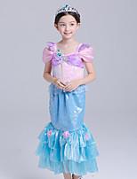 abordables -La Petite Sirène Aqua Princess Costume de Cosplay Fille Enfant Actif Halloween Noël Halloween Carnaval Fête / Célébration Organza Coton Tenue Bleu Sirène