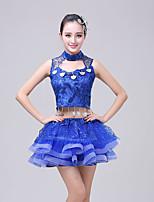 abordables -Elf Fée Costume Femme Adulte Paillettes Halloween Halloween Carnaval Mascarade Fête / Célébration Paillette Coton Tenue Bleu Paillette