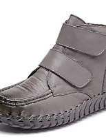 Недорогие -Жен. Наппа Leather Наступила зима Винтаж / На каждый день Ботинки На плоской подошве Круглый носок Сапоги до середины икры Коричневый / Красный / Вино