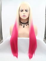 Недорогие -Синтетические кружевные передние парики Жен. Естественные прямые Стрижка каскад 130% Человека Плотность волос Искусственные волосы 24 дюймовый Женский Розовый Парик Длинные Лента спереди Розовый