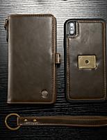 abordables -CaseMe Coque Pour Apple iPhone XS Max Portefeuille / Porte Carte / Clapet Coque Intégrale Couleur Pleine Dur faux cuir pour iPhone XS Max