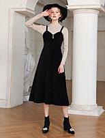 Недорогие -Жен. Элегантный стиль А-силуэт Платье - Однотонный, Бусины Средней длины