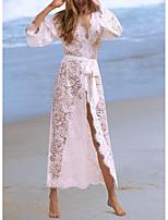 abordables -Femme Blanc Jupe Vêtement couvrant Maillots de Bain - Couleur Pleine Dentelle Taille unique