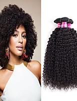 Недорогие -4 Связки Бразильские волосы Kinky Curly Натуральные волосы Необработанные натуральные волосы Подарки Косплей Костюмы Головные уборы 8-28 дюймовый Естественный цвет Ткет человеческих волос