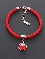 Недорогие -Веревка Браслет - Титановая сталь Тату с животными Дамы, корейский, Мода Красный / Розовый Назначение Для вечеринок Повседневные Жен.