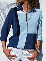 Недорогие -женская блузка - однотонный воротник рубашки