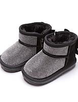 Недорогие -Девочки Обувь Замша Наступила зима Зимние сапоги Ботинки Стразы / Бант для Дети Черный