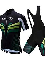 abordables -TELEYI Manches Courtes Maillot et Cuissard à Bretelles de Cyclisme - Blanc / Noir Vélo Séchage rapide Rayure / Elastique