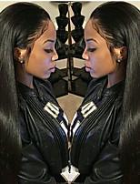Недорогие -Не подвергавшиеся окрашиванию Натуральные волосы Лента спереди Парик Перуанские волосы Шелковисто-прямые Парик 130% 150% Плотность волос с детскими волосами Для темнокожих женщин 100 / Необработанные