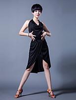 Недорогие -Латино Инвентарь Жен. Выступление Ice Silk (искусственное волокно) Комбинация материалов Без рукавов Юбки / Кофты
