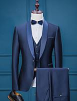 abordables -Couleur Pleine Coupe Sur-Mesure Polyester Costume - Col Châle Droit 1 bouton
