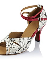 Недорогие -Жен. Обувь для латины Полиуретан На каблуках Планка Тонкий высокий каблук Персонализируемая Танцевальная обувь Красный / белый
