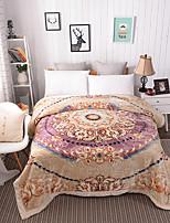 Недорогие -Коралловый флис, Рельефные Цветочные / ботанический Целлюлозная ткань / Полиэфир / полиамид одеяла