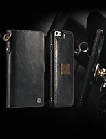 baratos -CaseMe Capinha Para Apple iPhone 6 / iPhone 6s Carteira / Porta-Cartão / Flip Capa Proteção Completa Sólido Rígida PU Leather para iPhone 6s / iPhone 6