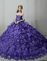 Недорогие -Платья Платье Для Кукла Барби Лиловый Тюль / Кружево / Шелково-шерстяная ткань Платье Для Девичий игрушки куклы