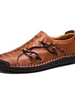 Недорогие -Муж. Кожаные ботинки Кожа Весна & осень Деловые / На каждый день Мокасины и Свитер Желтый / Темно-коричневый / Вино