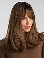 Недорогие -Парики из искусственных волос Жен. Естественный прямой Коричневый С чёлкой Искусственные волосы 18 дюймовый Модный дизайн / синтетический / Новое поступление Коричневый Парик Средняя длина