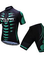 Недорогие -TELEYI С короткими рукавами Велокофты и велошорты - Черный / зеленый Велоспорт Разные цвета / Эластичная