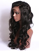 Недорогие -человеческие волосы Remy Лента спереди Парик Средняя часть стиль Бразильские волосы Естественные кудри Парик 130% Плотность волос Природные волосы С отбеленными узлами Жен. Длинные