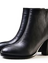 Недорогие -Жен. Полиуретан Осень На каждый день / Минимализм Обувь на каблуках На толстом каблуке Круглый носок Ботинки Ленты Черный / Темно-русый