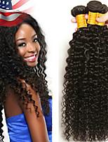 Недорогие -3 Связки Бразильские волосы Монгольские волосы Kinky Curly Натуральные волосы Необработанные натуральные волосы Wig Accessories Подарки Косплей Костюмы 8-28 дюймовый Естественный цвет