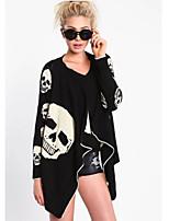Недорогие -Жен. Повседневные Классический Обычная Пальто, Однотонный Круглый вырез Длинный рукав Полиэстер Черный M / L / XL