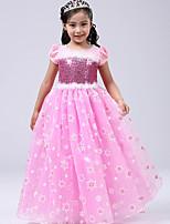 abordables -Elsa Costume de Cosplay Fille Enfant Halloween Noël Halloween Carnaval Fête / Célébration Tulle Coton Tenue Bleu / Rose Princesse