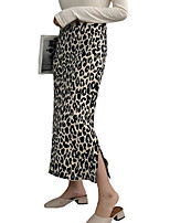 Недорогие -женские верхние юбки для коленного сустава - леопард