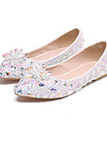 cheap -Women's Wedding Shoes Flat Heel Pointed Toe Vintage Sexy Minimalism Wedding Party & Evening PU Rhinestone Crystal Sparkling Glitter Solid Colored Purple Blue Silver