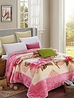 Недорогие -Коралловый флис, Активный краситель Цветы Полиэфир / полиамид одеяла