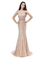 baratos -Sereia Decote V Cauda Escova Renda Brilho & Glitter Evento Formal Vestido com Miçangas de LAN TING Express