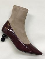 Недорогие -Жен. Наппа Leather Осень Милая / Минимализм Ботинки На толстом каблуке Заостренный носок Ботинки Черный / зеленый / Вино