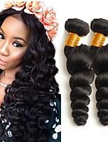 Недорогие -3 Связки Малазийские волосы Свободные волны 8A Натуральные волосы Необработанные натуральные волосы Головные уборы Человека ткет Волосы Сувениры для чаепития 8-28 дюймовый Естественный цвет