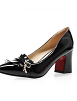 Недорогие -Жен. Полиуретан Весна Обувь на каблуках На толстом каблуке Черный / Красный / Розовый